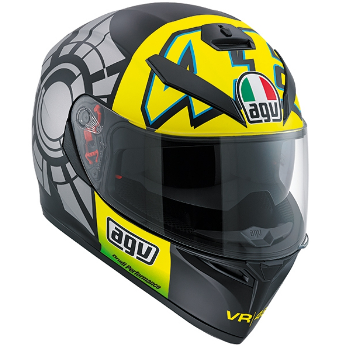 Valentino Rossi AGV K-3 SV Winter test helmet ('Kendo', Black & Yellow)