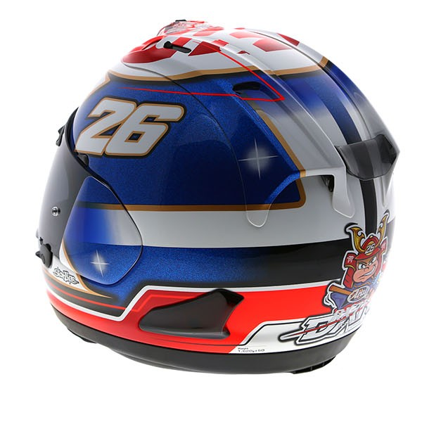 dani pedrosa arai rx 7v samurai helmet replica race helmets. Black Bedroom Furniture Sets. Home Design Ideas